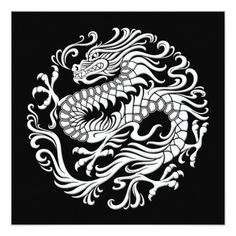 Traditional White and Black Chinese Dragon Circle Invitation