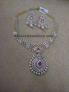 7 Lakhs Simple Diamond Set and Chandbali