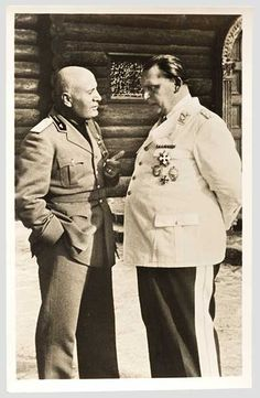 Benito Mussolini in conversation with Hermann Göring at Göring's home, Carinhall