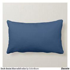 Dark denim blue solid color lumbar pillow Navy Blue Throw Pillows, Diy Throw Pillows, Blue Throws, Lumbar Throw Pillow, Blue Cushions, Custom Pillows, Decor Pillows, Modern Pillows, Colorful Pillows