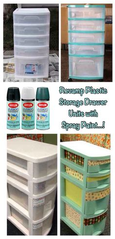 ('revamp plastic storage drawer units with spray paint...!')