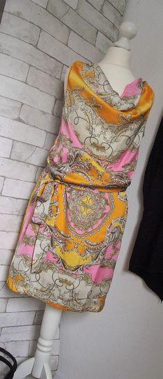 NEU Kleid *TAMARIS* Satin Tunika orange-pink-weiß Gr. 34 XS