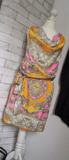 NEU *TAMARIS* Satinkleid orange-pink-weiß Gr. 34 oder 36