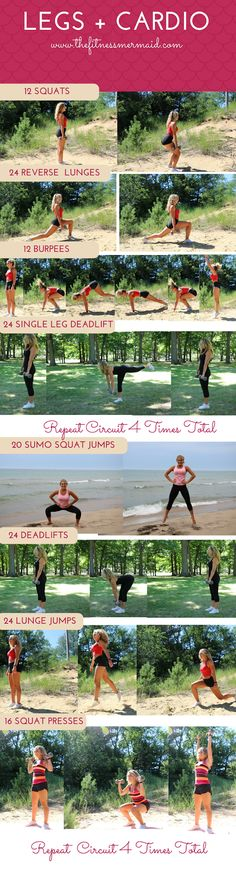 Mermaid Fit Tips:  We're going give those gorgeous legs a 360 degree workout with this one! Perform the strength exercises slowly and cont...