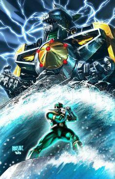 Green Power Ranger summons The Dragon Zord. Power Rangers Fan Art, Mighty Morphin Power Rangers, Green Power Ranger, Tommy Oliver, Pawer Rangers, Cultura Pop, Dragon Ball Z, A Team, Comic Art