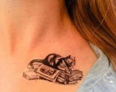 Cat & book tattoo