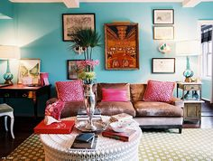 Turquoise blue & hot pink eclectic living room