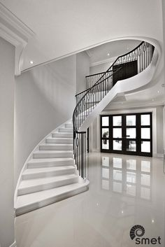 Walton-on-Thames - C - Staircases of Distinction Staircase Interior Design, Luxury Staircase, Foyer Staircase, Stairs Architecture, Curved Staircase, Interior Architecture, Staircases, Round Stairs, College Room Decor