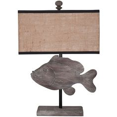 Wooden Fish Lamp - Natural Coastal ($379) ❤ liked on Polyvore featuring home, lighting, coastal lamps, coastal style lighting, coastal themed lamps, fish lights and wood lighting