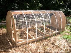 I like this for two reasons. One it can be a chicken tractor. Two it can be a Cold Weather Hoop house by adding some plastic in the fall.