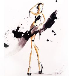 #watercolor #fashion #illustration by Claire Thompson ( Claire Ashley )