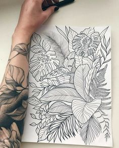 32 Best Tattoo Ideas For Women - Page 20 of 32 - Tattoo Designs Tropisches Tattoo, Leaf Tattoos, Tattoo Drawings, Body Art Tattoos, Sleeve Tattoos, Arm Tattoo Leaves, Tatoos, Bicep Tattoos, Floral Tattoos