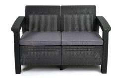 Keter Corfu Resin Wicker Loveseat with Outside Cushions – Patio Furnishings Excellent for Entrance Porch Décor and Poolside Love Seats, Gray Outside Cushions, Outdoor Cushions, Outdoor Sofa, Plastic Patio Furniture, Patio Loveseat, Grey Cushions, Patio Seating, 2 Seater Sofa, Outdoor Living Areas