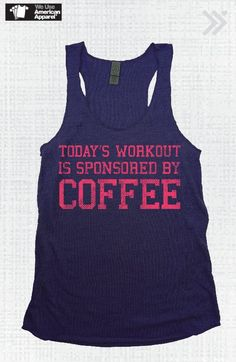 Workout sponsored by coffee| Navy Blue/Coral Workout Sponsored Eco Tank by everfitte on Etsy, $26.00