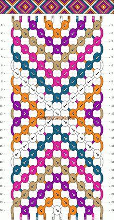 Learn how to tie your own friendship bracelets! _____ _____ _____ _____ _____ _____ _____ Friendship bracelet pattern 2146 by mikkomix #friendship #bracelet #wristband #craft #handmade #DIY #braceletbook #howto #instructions #pattern #chevron #diamonds #arrows