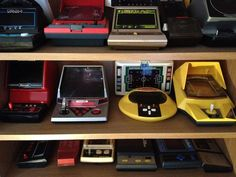 Part of my handheld video game collection, with games from Grandstand, CGL, Bambino, Entex and Nintendo
