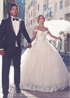 Robe de mariée sexy d'epaule écrite appliques mode de bal - photo 1