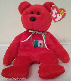 BEANIE BABY OSITO Ty Mexico Bear red teddy vintage retired soccer plush Mexican  FREE US SHIPPING!