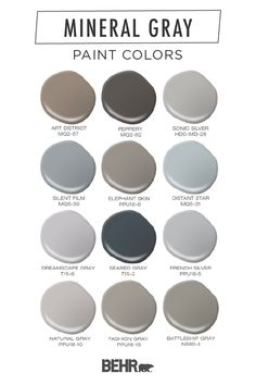 Gray can be anything but boring. Take a look at our favorite color combinations featuring mineral gray colors. Paint Color Palettes, Grey Paint Colors, Room Paint Colors, Exterior Paint Colors, Paint Colors For Home, House Colors, Calming Bedroom Colors, Light Gray Paint, My New Room
