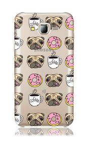 Samsung Galaxy J7(Boost) / SM J700 (2015) (2016) Clear Tpu with Pug and Coffee Design Soft and Flexible Silicone Skin Phone Case | www.nucecases.com | #samsung #nucecases