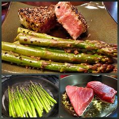 "Seared black pepper tuna steaks with asparagus 1 tsp ground coriander 1/2 tsp paprika 1/4 tsp cayenne pepper 4 (6-oz) Ahi steaks, about 1 1/2"" thick (ask for ""sear"" or ""sushi"" grade if cooking medium rare) 4 tbsp fresh coarsely ground black pepper 2 tbsp vegetable oil 1 lemon, quartered"