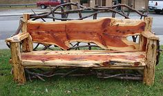 Find unique ideas for making DIY outdoor bench to decorate your garden and patio in a creative way. Make bench with wood logs,pallets,cinder Cedar Furniture, Rustic Log Furniture, Live Edge Furniture, Outside Furniture, Rustic Bench, Rustic Wood, Garden Furniture, Diy Furniture, Furniture Dolly
