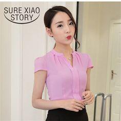 2017 New Summer Korean Fashion Solid Elegant Women Blouses Chiffon Shirt Large Size Loose Short-sleeved All-matchTops 58i 30