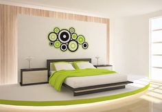Wandtattoo Retro Ringe grün - cooler Look für Ihr Zuhause   wall-art.de Online Shop