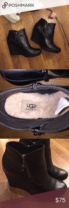 Black Ugg wedges!! Black Ugg wedge booties with sheepskin footbed. Great condition. Like new. Zippers up both sides. UGG Shoes Ankle Boots & Booties