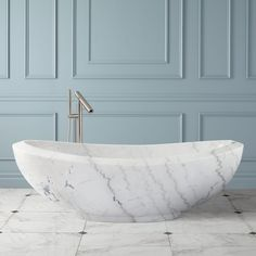 "72"" Lucius Polished Moon White Marble Tub"