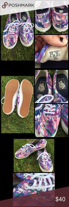 Multicolored Vans In great condition! Very unique splatter paint design. Perfect for any outfit or occasion! Size is women's 9.5. Please feel free to make an offer!  Vans Shoes Sneakers