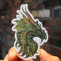 coloured letterpress dragon business card