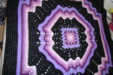 Free Crochet Ripple Afghan Pattern   ... afghan, multi-colored purples/black granny/ripple pattern - Afghans