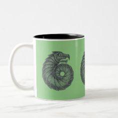 Mug AMMONITE black on leaf Ocean Creatures, Celtic Designs, Ammonite, Dog Design, Photo Mugs, Fossil, Coffee Mugs, Lavender, Aqua