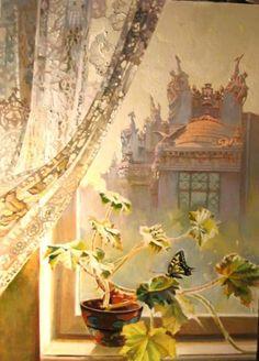 """Частные собрания - Посвящение архитектору, охотнику, художнику и творцу В.Городецкому / Окно с видом на Дом с """"Химерами"""" / Живопись [История]"""