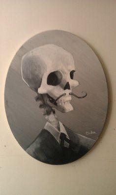 Addam's Family/Day of the Dead Halloween Decoration Skeleton w/ mustache painting on Canvas. $27.00, via Etsy.