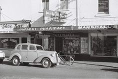 Dale's Papanui Pharmacy, on the western side of Papanui Road, Papanui, Christchurch. Flanked by Marshall's Fabrics and The Shoe Bar. Christchurch New Zealand, West Side, Back In Time, Pharmacy, Palm Springs, Kiwi, Jackson, History, Random