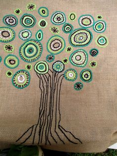 Mano de árbol verde bordado yute bolsa elegante bolsa con