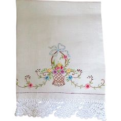 Darling Irish linen Embroidered Hand Towel Flower Basket