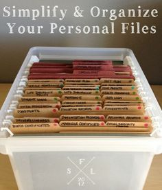 {the weekend organizer} creating simplified + organized personal reference files « Simply Fabulous Living Simply Fabulous Living