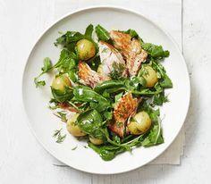 Salmon, Potato, and Arugula Salad With Dill Dressing