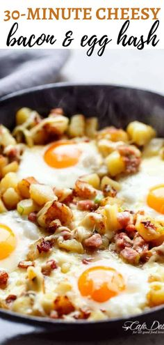 30-Minute Cheesy Bacon & Egg Hash! The perfect way to kick off the weekend. This cheesy bacon and egg hash is so tasty, packed with protein and super easy to make. Breakfast will be on the table in only 30-minutes. What are you waiting for? #cheese #eggs #bacon #breakfastrecipes Brunch Dishes, Breakfast Dishes, Breakfast Recipes, Breakfast Ideas, Quick And Easy Breakfast, Breakfast Time, Chocolate Coconut Slice, Grilling Recipes, Cooking Recipes
