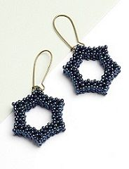 Simple Star Earrings by Sara Zsadon (Beadwork October/November 2012)  ~ Seed Bead Tutorials