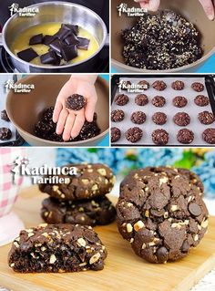 Double Chocolate Chip Cookies Recipe, How To- Duble Çikolatalı Kurabiye Tarifi. - galletas - Las recetas más prácticas y fáciles Double Chocolate Chip Cookie Recipe, Chocolate Cookies, Donut Recipes, Cookie Recipes, Baking Recipes, East Dessert Recipes, Sweet Sauce, Cheesecake Recipes, Cake Cookies