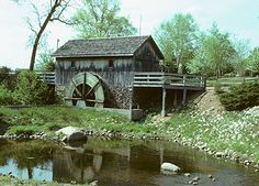 Hiram Buttrick Sawmill (1976), replica of old mill in Antioch, Illinois with undershot waterwheel