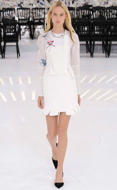 Futuristic space feminine style: delicate astronaut suit details + a hint of floral embroidery white mini skirt ensemble Christian Dior Fall Winter 2014 #Couture #FW2014 #HauteCouture #PFW
