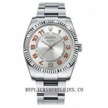 Rolex Air-King linea plata concentrica oro blanco Bisel estriado reloj 114234 SCAO