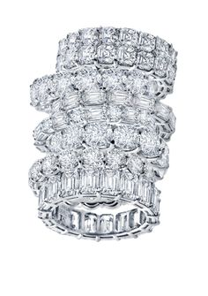 Martin Katz Classic Eternity Bands: Bagette channel-set, Bagette and round set
