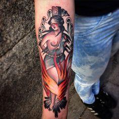 Burning witch tattoo  by Rafa Decraneo.
