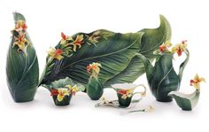 """Brilliant Blooms"" Canna Lily Collection Franz Pottery"
